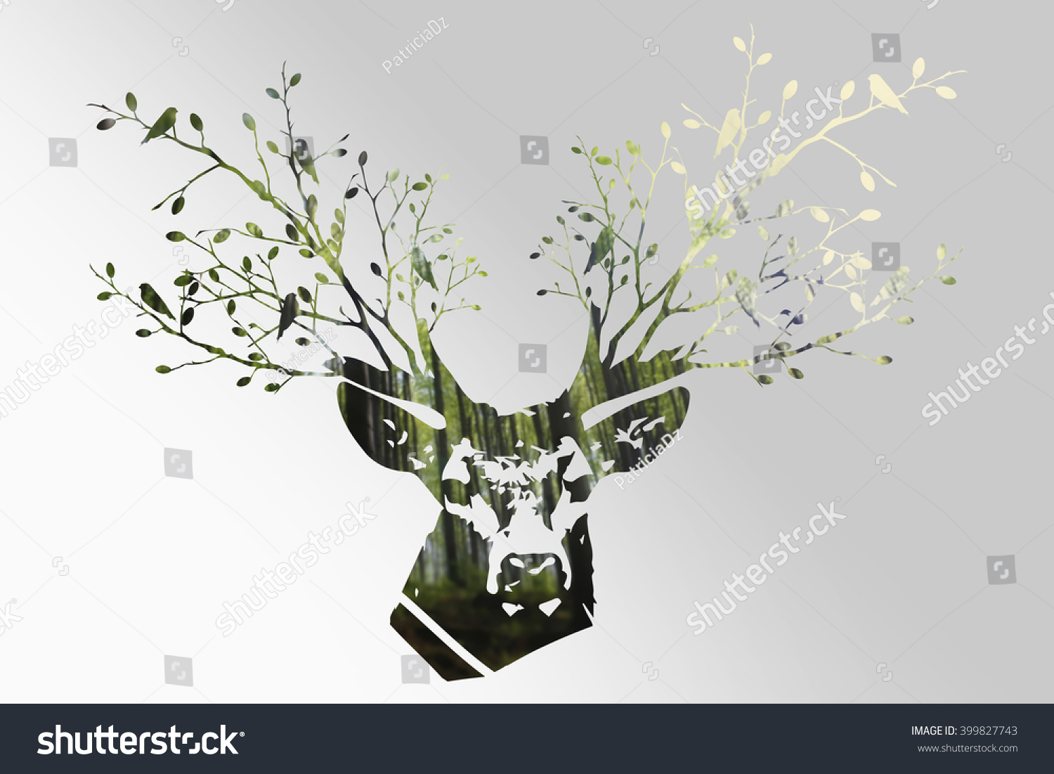 the deer head with forest colorful double exposure effect black u0026 white deer
