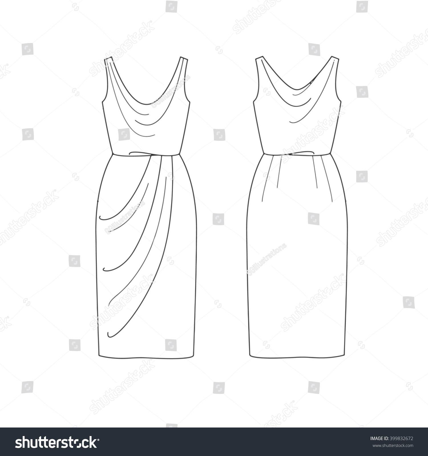 Set Fashion Flat Template Sketch Short Stock Illustration 399832672 Dress