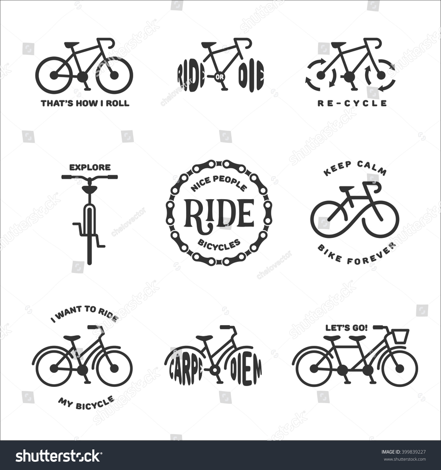 Cycling Quotes   Bicycle Related Typography Set Motivational Quotes Stock