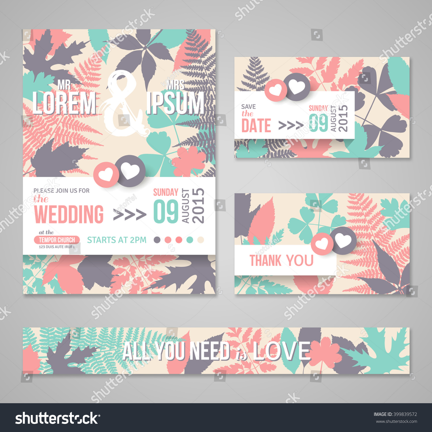 Retro Wedding Invitations Design Template With Forest Leaves, Branches.  Vector Illustration. Decorative Floral