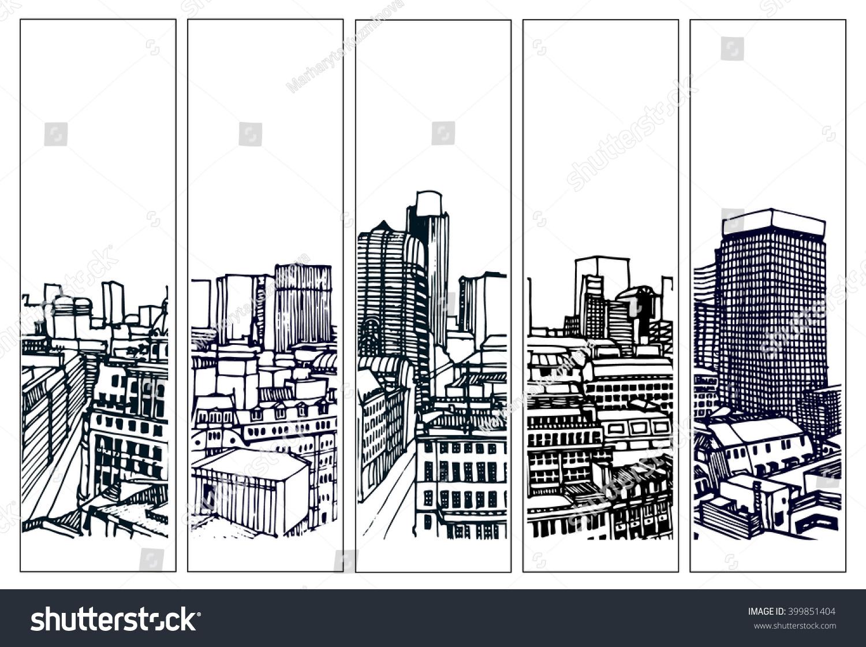 Line Art City : City panorama illustration hand drawn line stock vector
