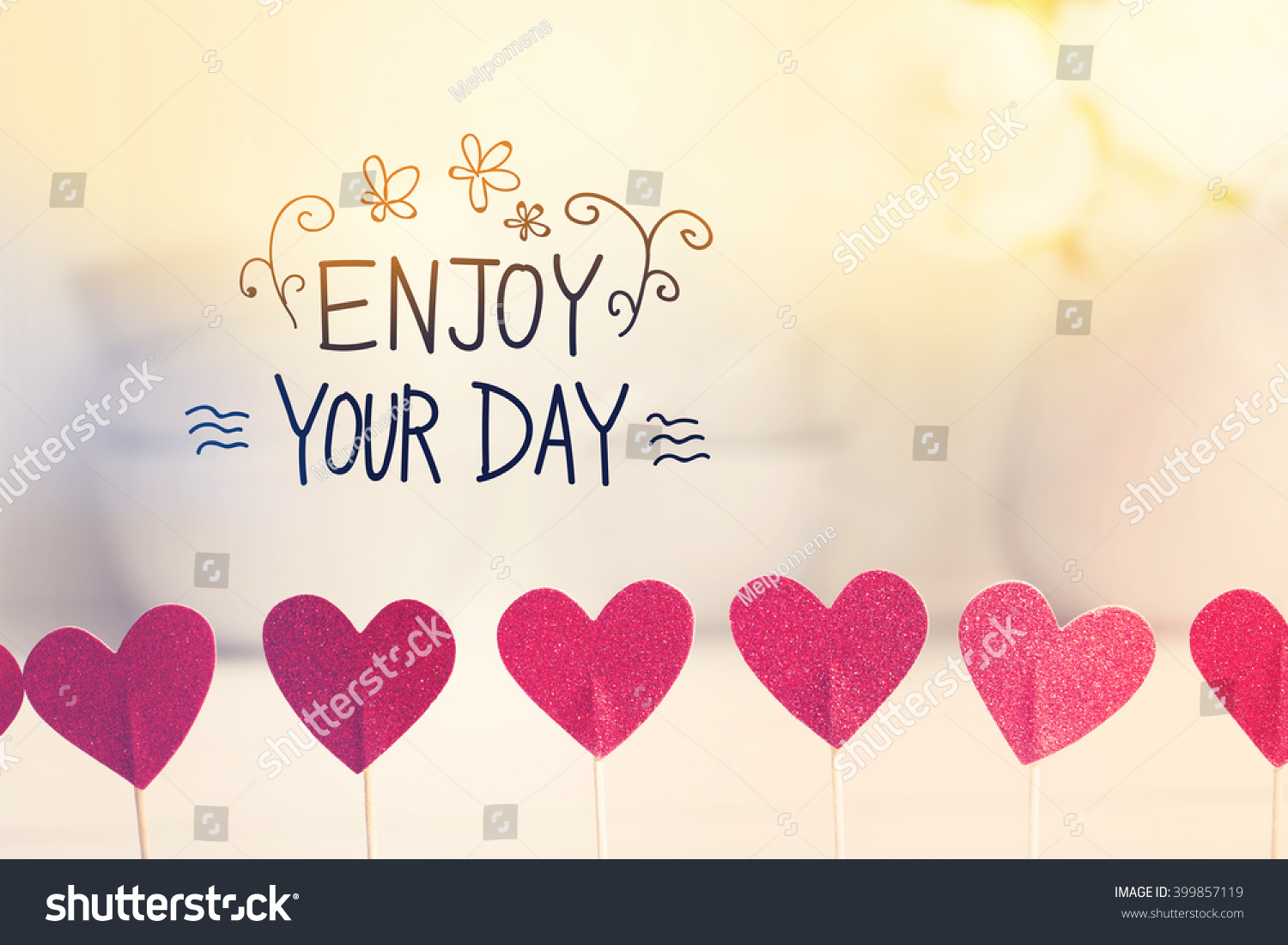 Amazing Enjoy Your Day Message With Small Red Hearts With White Dishes