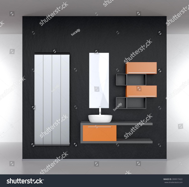 Modern Bathroom Furnishings Radiator Dark Stock Illustration