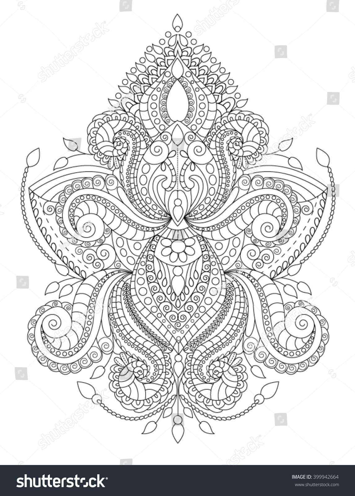 handdrawn henna abstract mandala flowers paisley stock vector