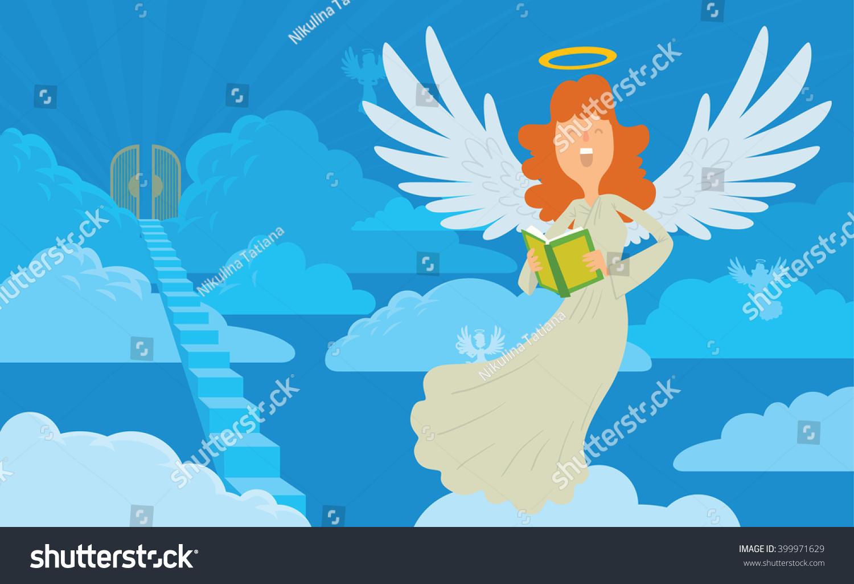 vector cartoon image female angel on stock vector 399971629