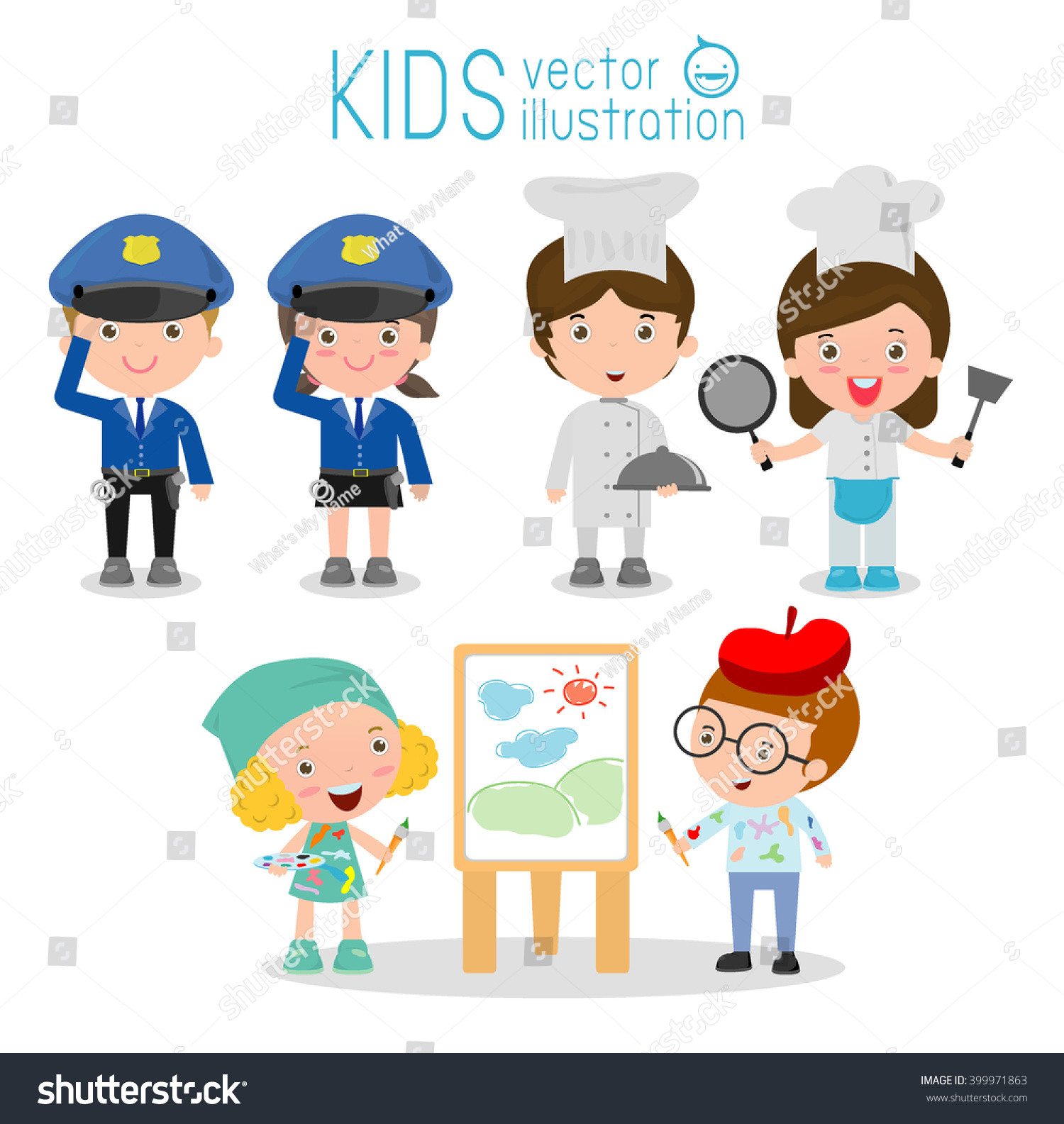 set cute professions kids isolated on stock vector 399971863