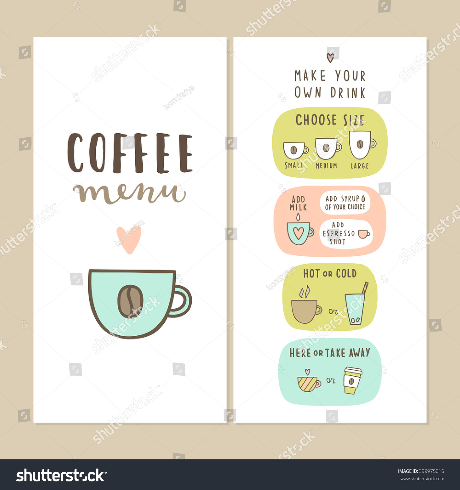 Coffee Bar Menu Template Make Your Stock Vector 399975016 ...