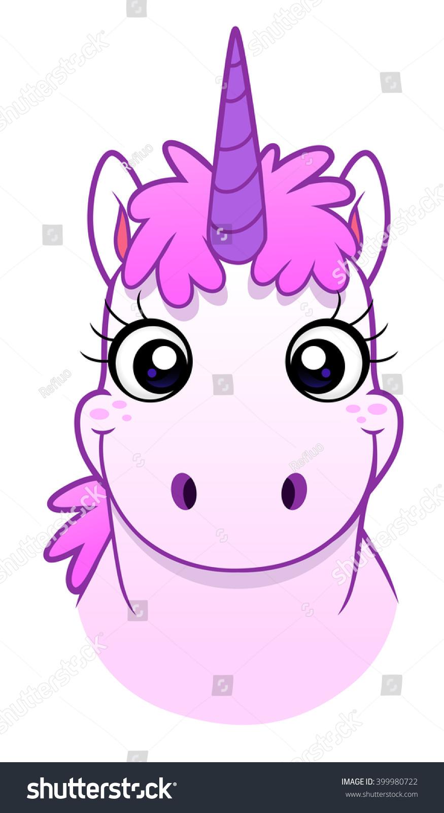Funny Pink Cartoon Unicorn Face Stock Vector 399980722 ... - photo#12