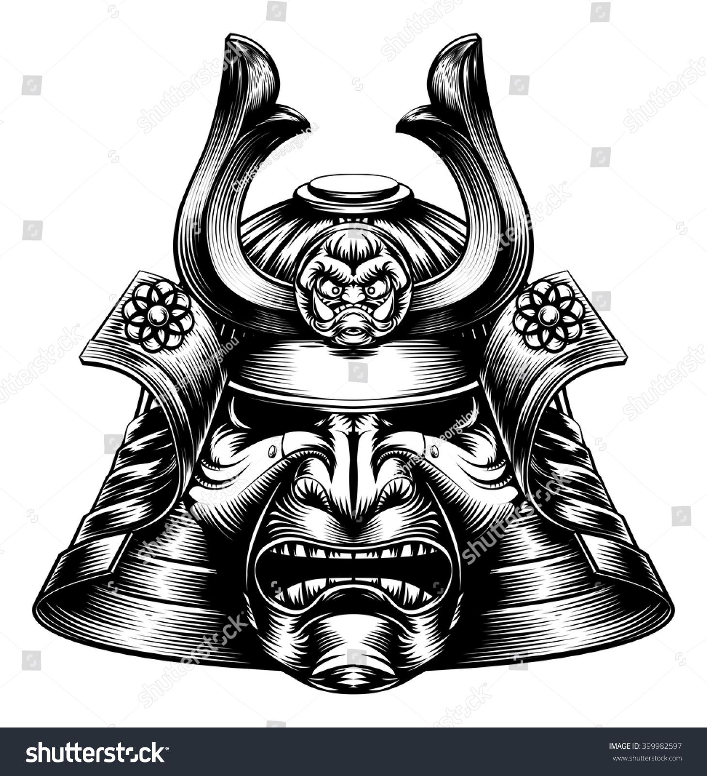 Japanese Samurai Mask Helmet Woodcut Style Stock Vector