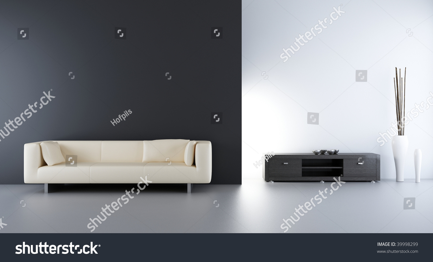 Living Room Setting Living Room Setting White Couch To Face A Blank Wall Stock Photo