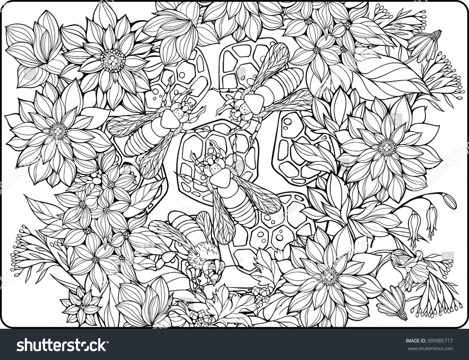 coloring page flowers bees collecting honey stock vector 399985717