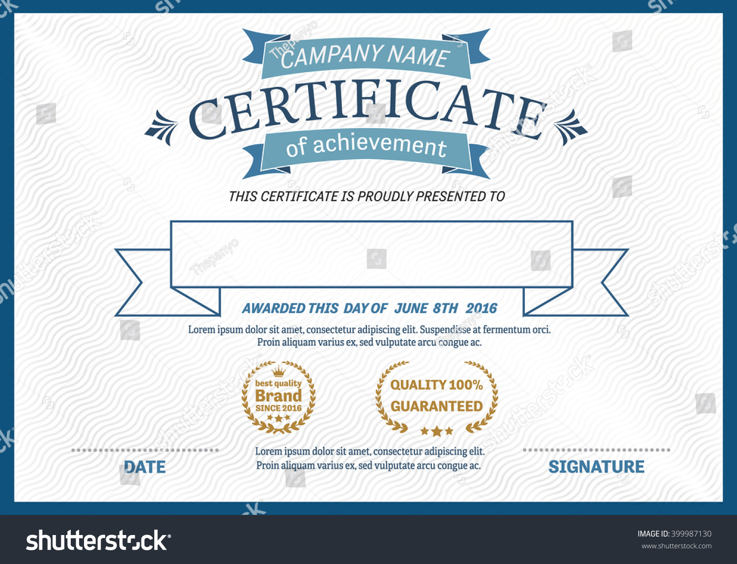 Blue ribbon certificate diploma template vector stock vector blue ribbon certificate diploma template vector illustration design yadclub Image collections