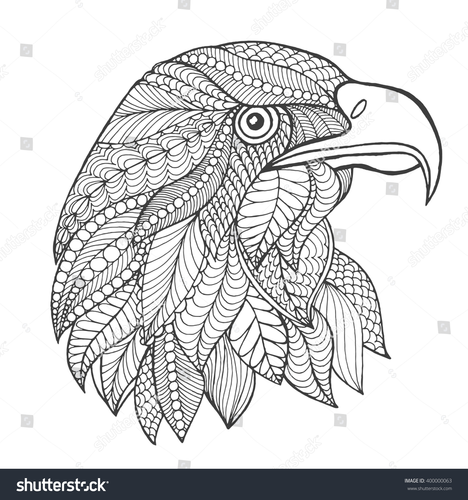 Eagle Head Adult Antistress Coloring Page Black White Hand Drawn Doodle Animal Ethnic