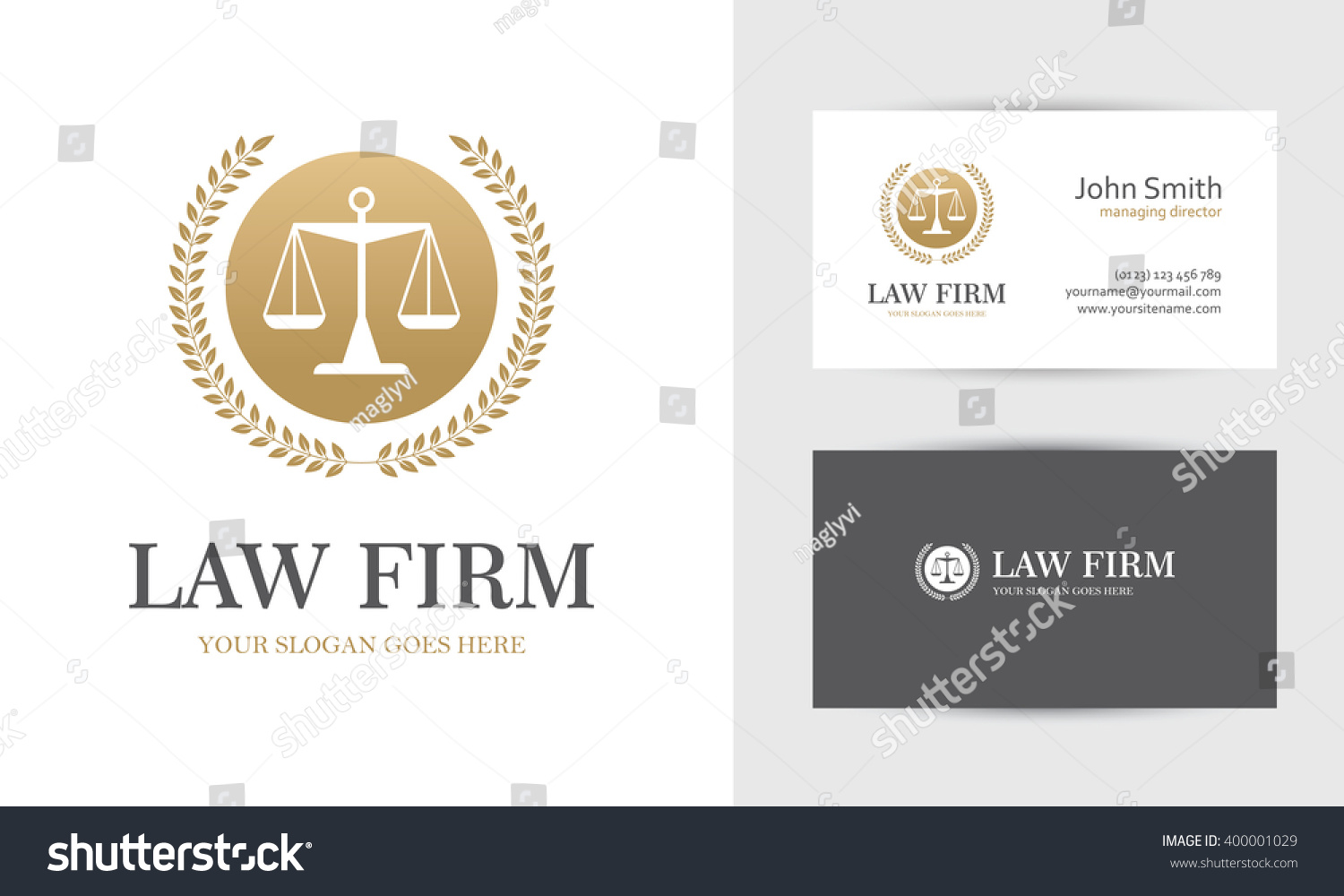 Law logo scales wreath golden colors stock vector for Firm company