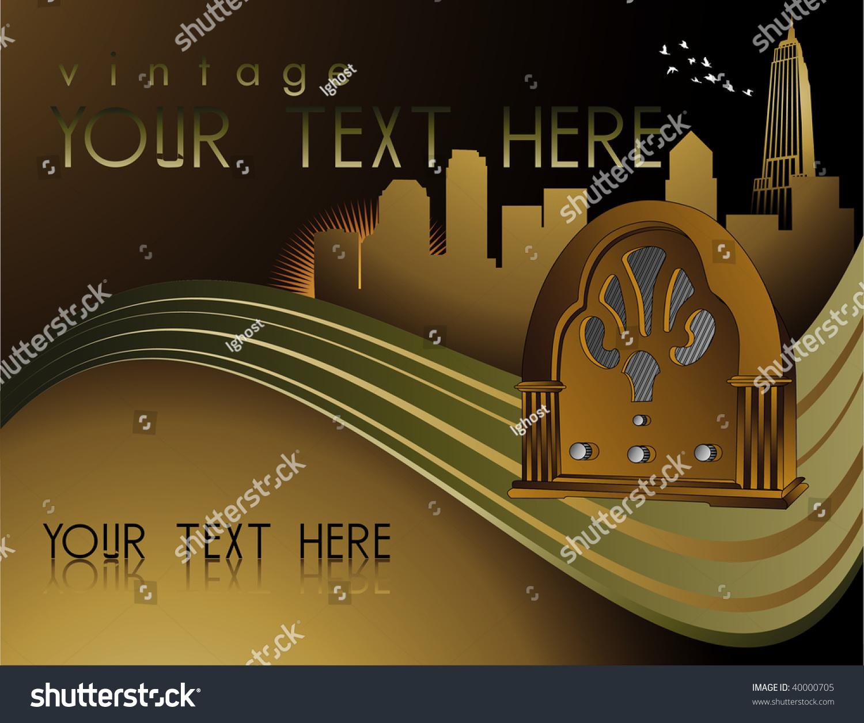Retro Art Deco Music Poster Stock Vector Illustration
