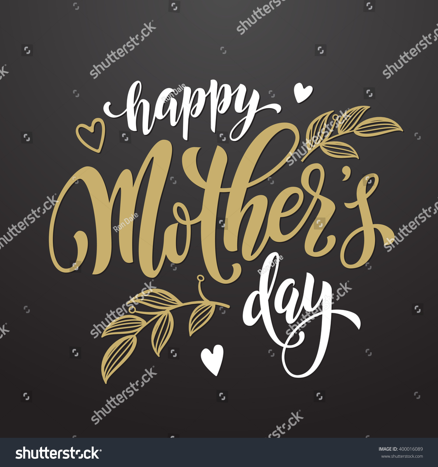 Mothers Day Vector Greeting Card Hand Drawn Gold