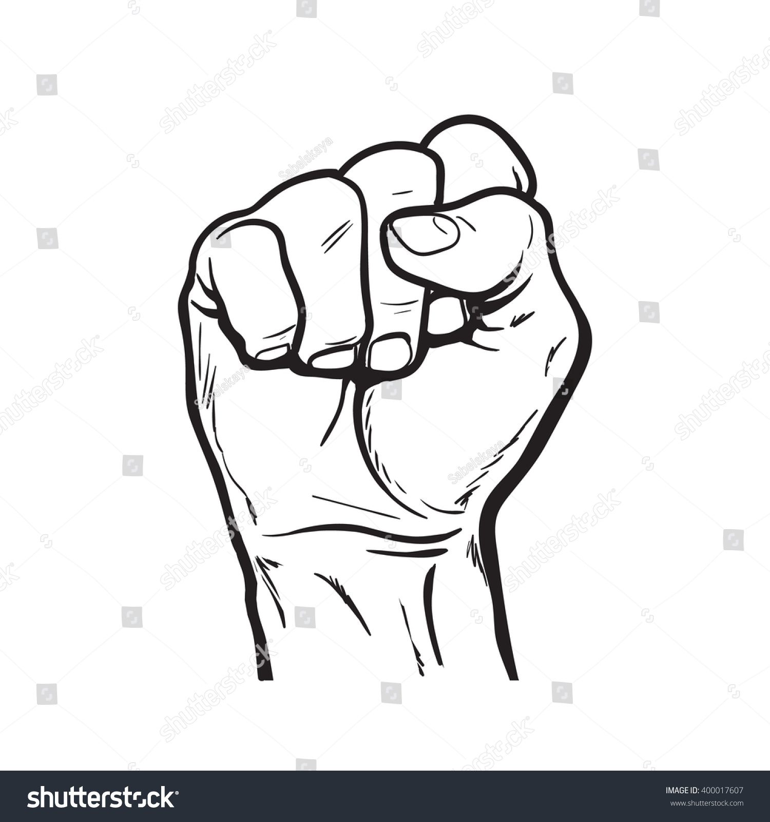 Raised Hand Showing Fist Symbol Strength Stock Vector Royalty Free