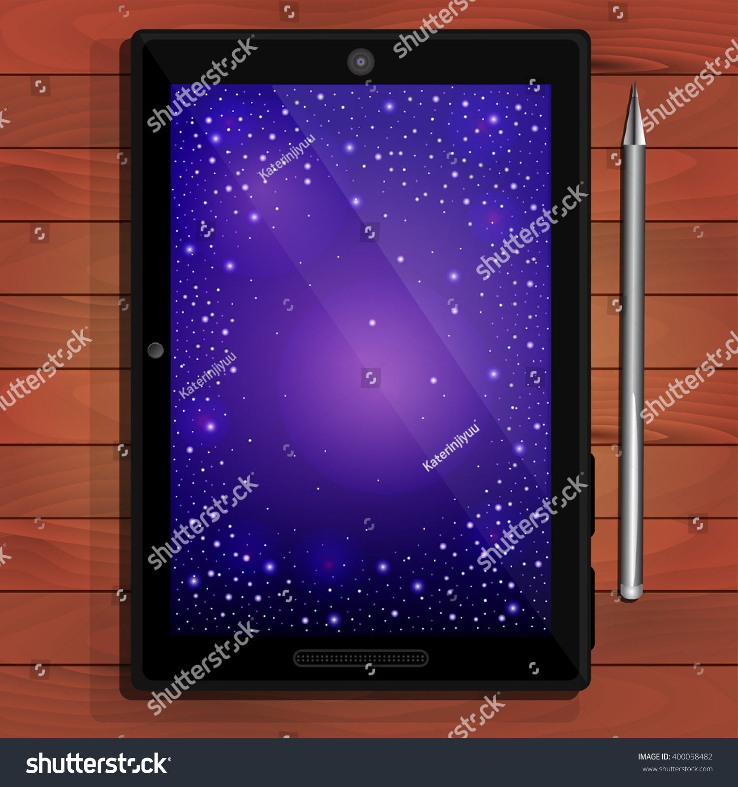 Tablet computer space background metal pen stock vector hd royalty tablet computer space background metal pen on a wooden table voltagebd Images