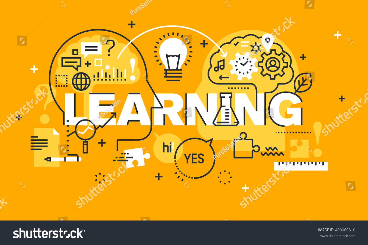 Thin Line Flat Design Banner Learning Stock Vector 400060810 ...