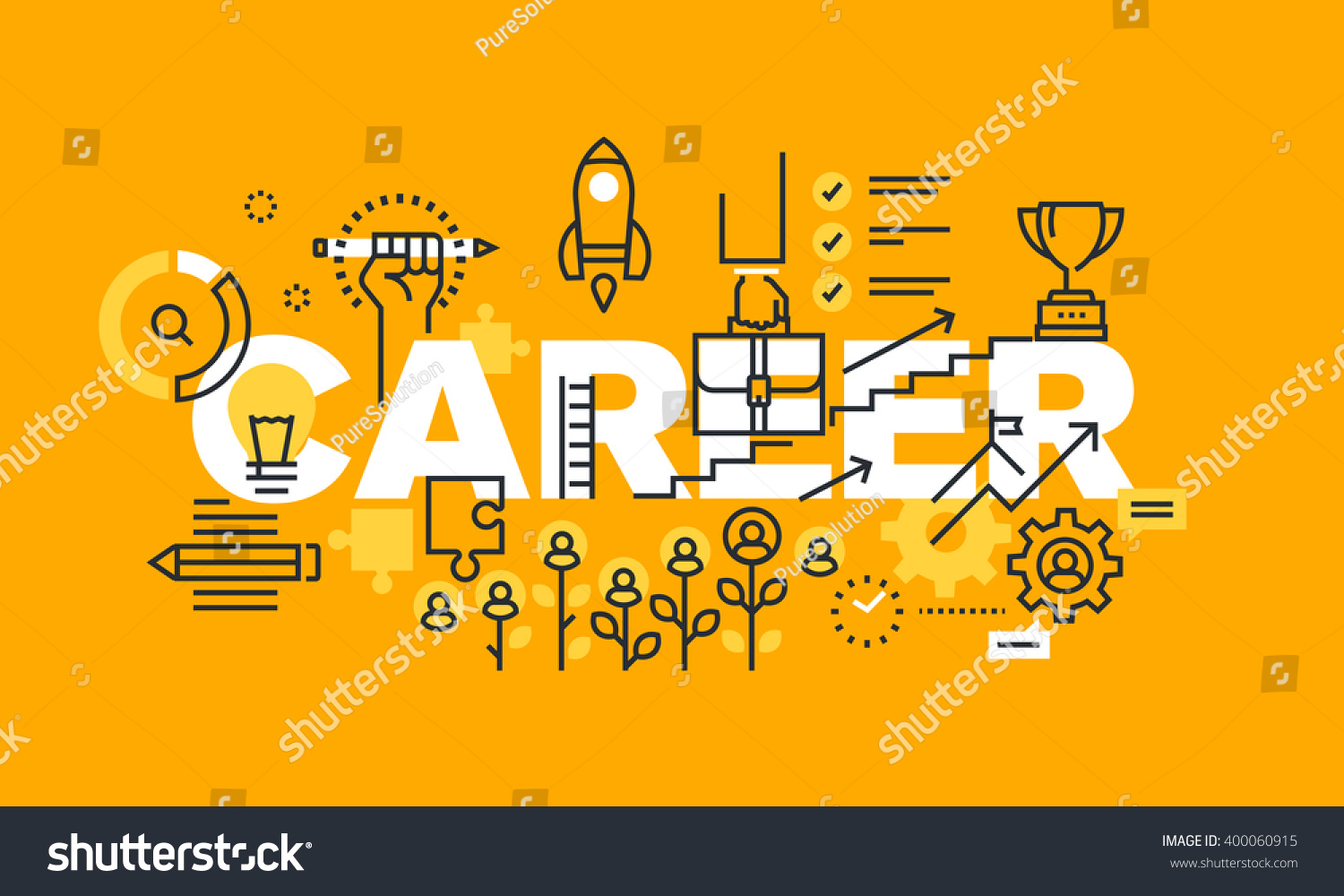 thin line flat design banner career stock vector  thin line flat design banner for career web page employment career development job