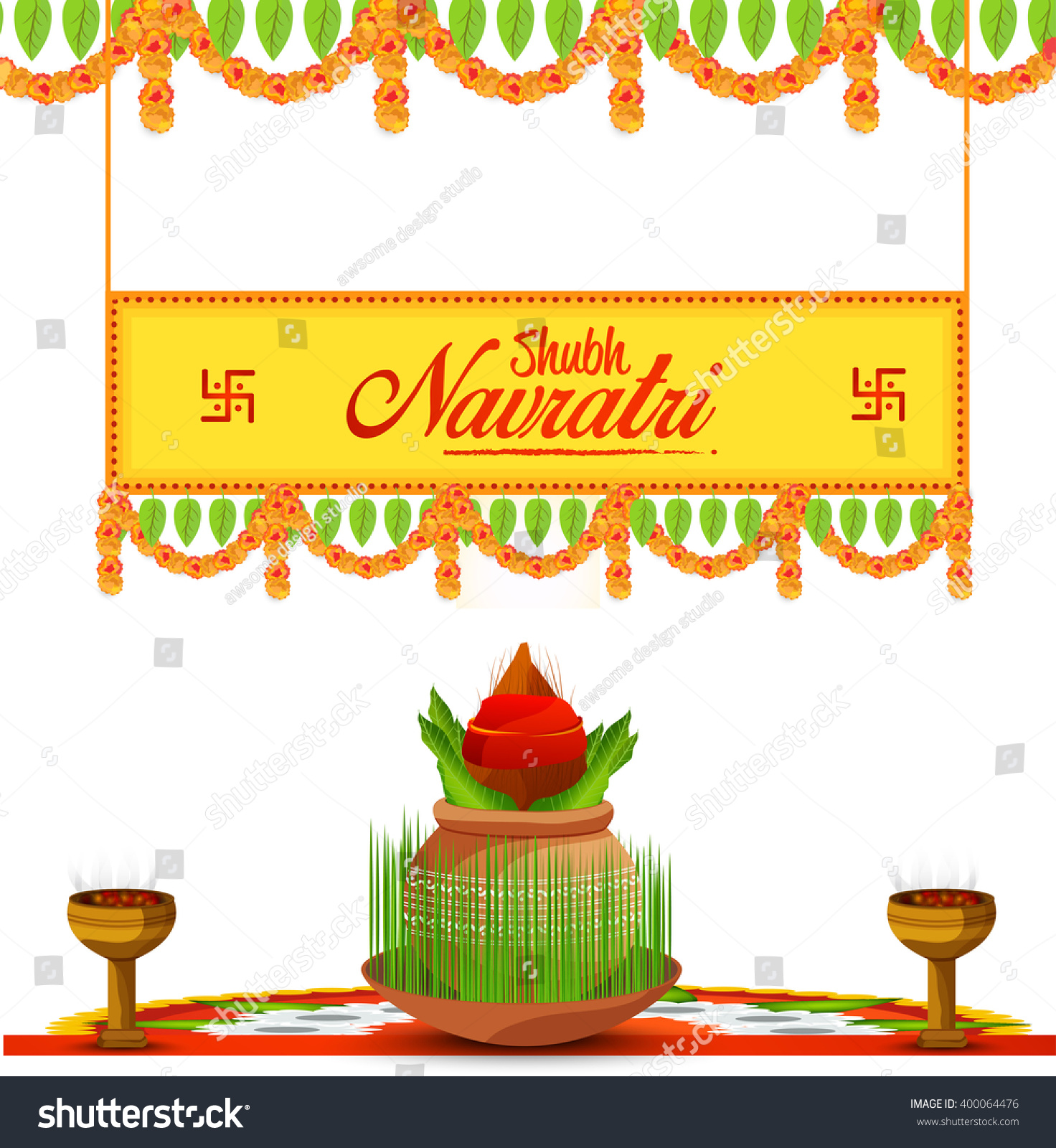 Indian Festival Decoration Vector Illustration Indian Festival Navratri Celebration Stock