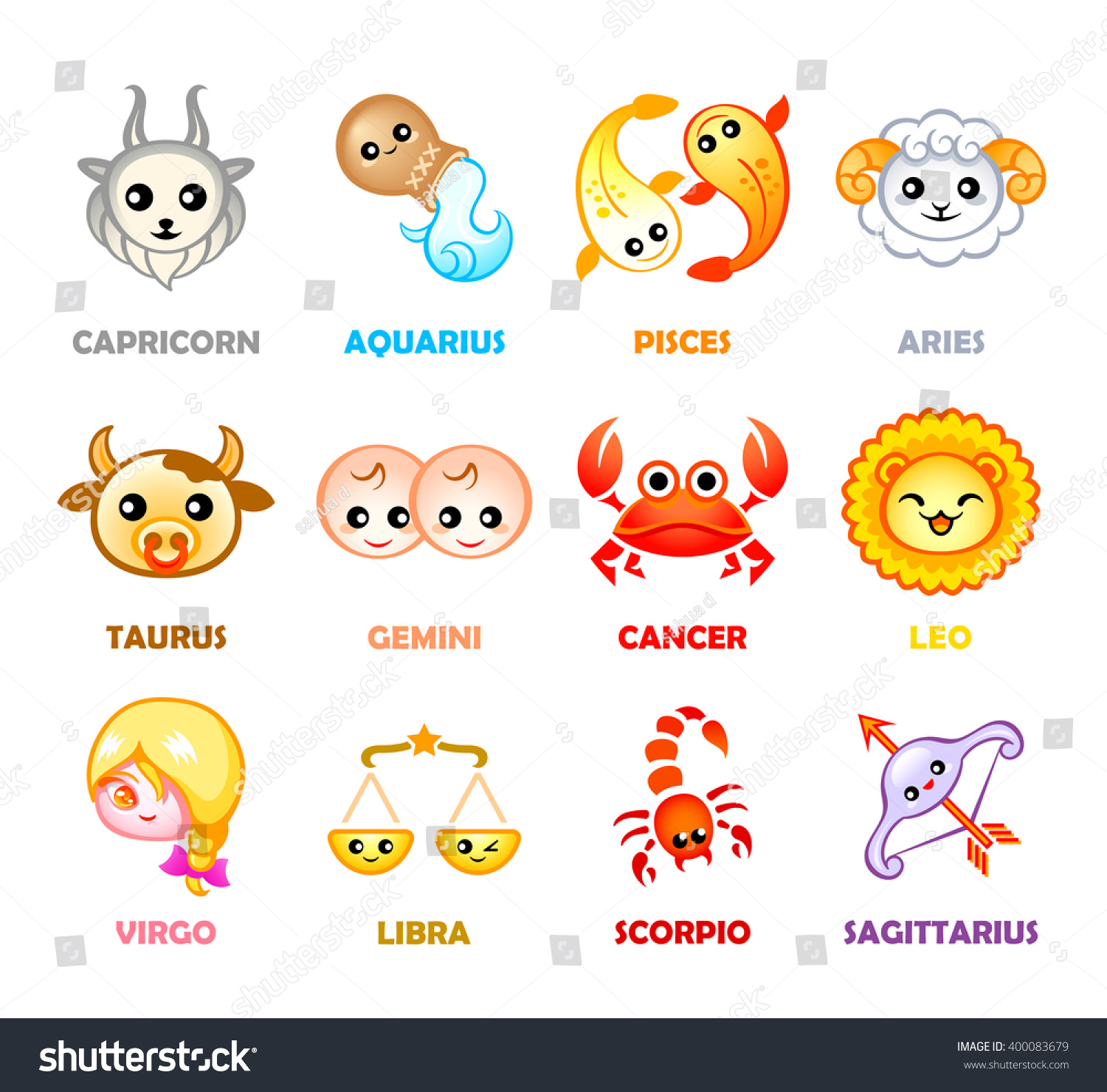 Cute Months Zodiac Symbols Japanese Style Stock Vector Royalty Free