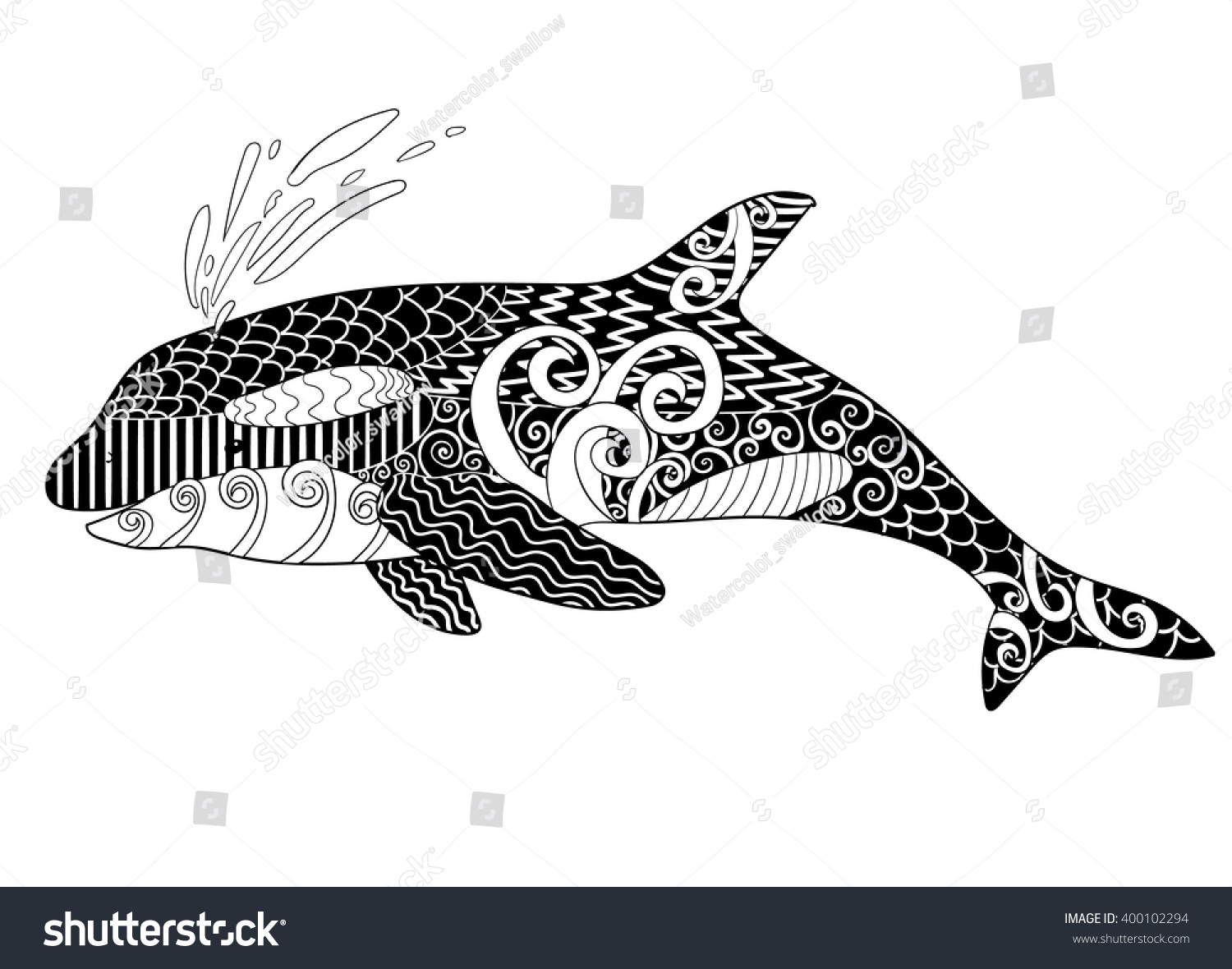 killer whale high details antistress stock vector 400102294