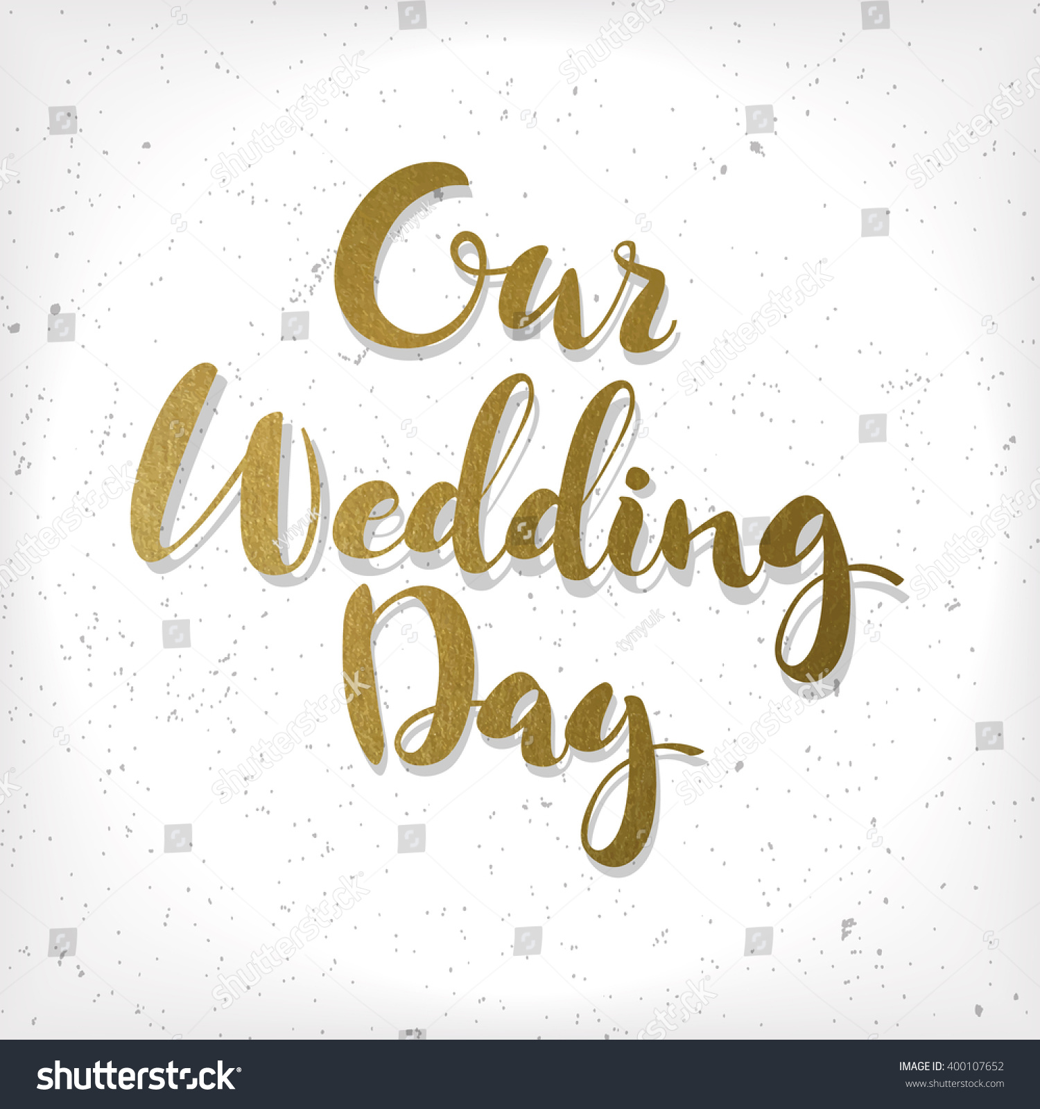 Handwritten Inscription Our Wedding Day On Stock Vector (Royalty