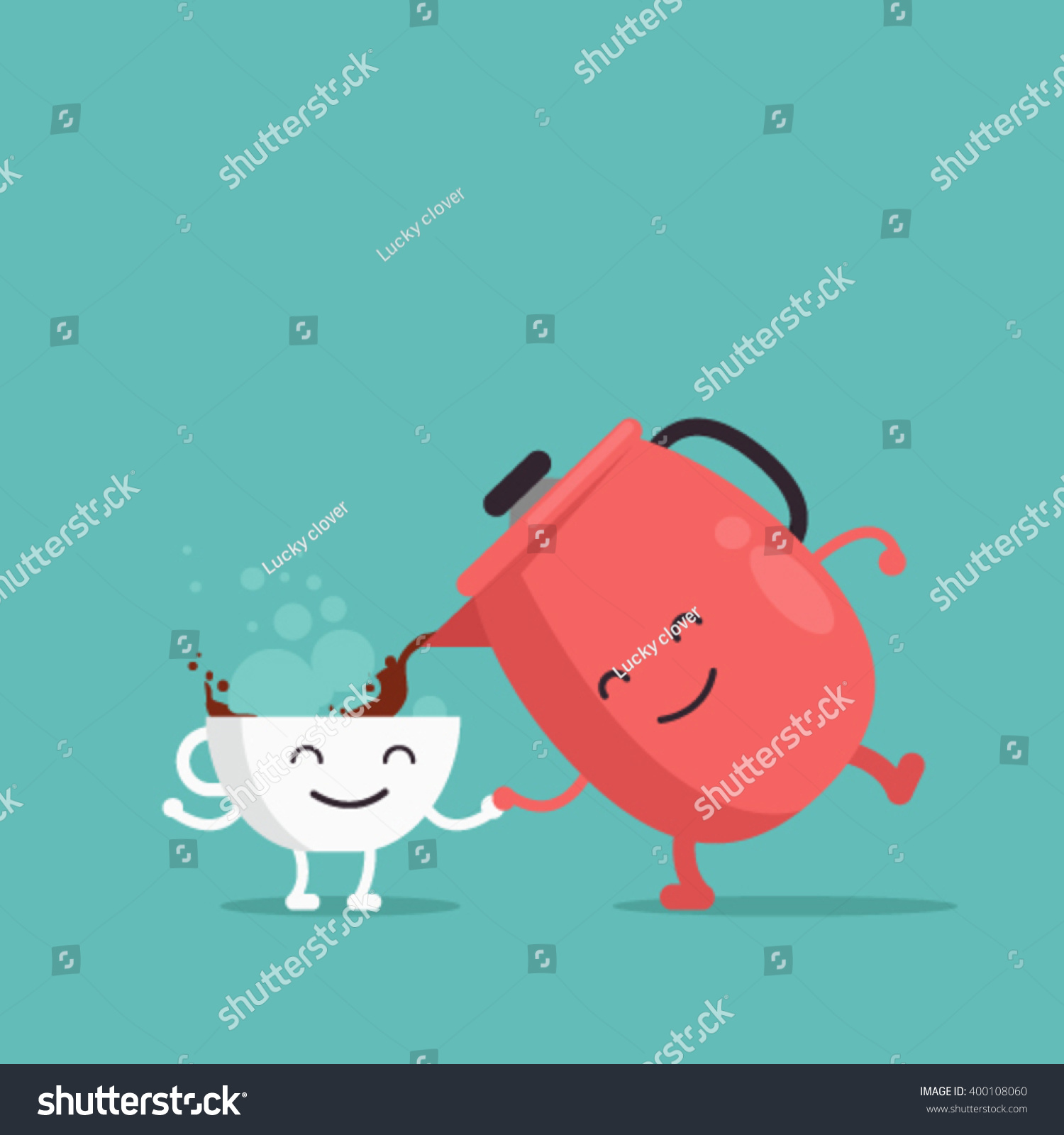 Larger preview vector clip art of a happy yellow coffee cup character - Characters Cup Of Coffee And Coffee Pot Vector Illustration Flat Design