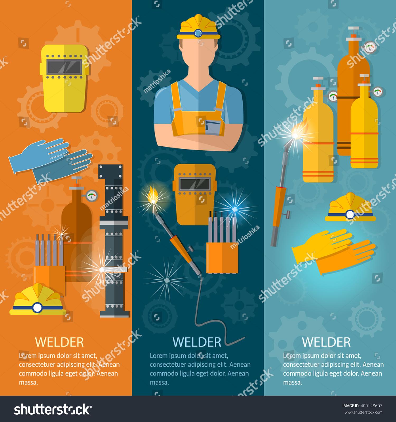 Professional Welder Banner Welding Tools Equipment Stock Vector Diagram Of And Illustration