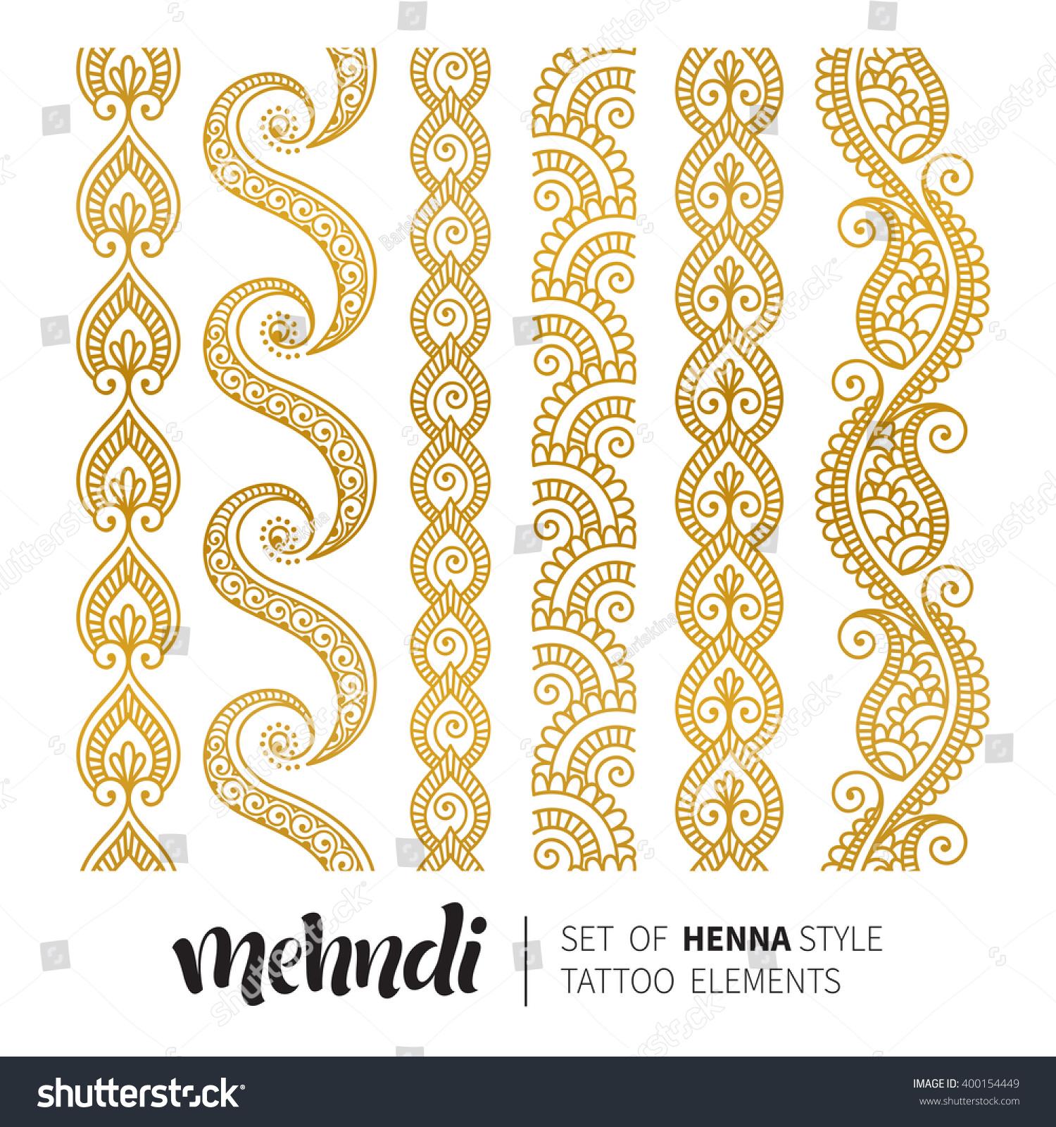 Vector Illustration Gold Mehndi Pattern Set Stock Vector