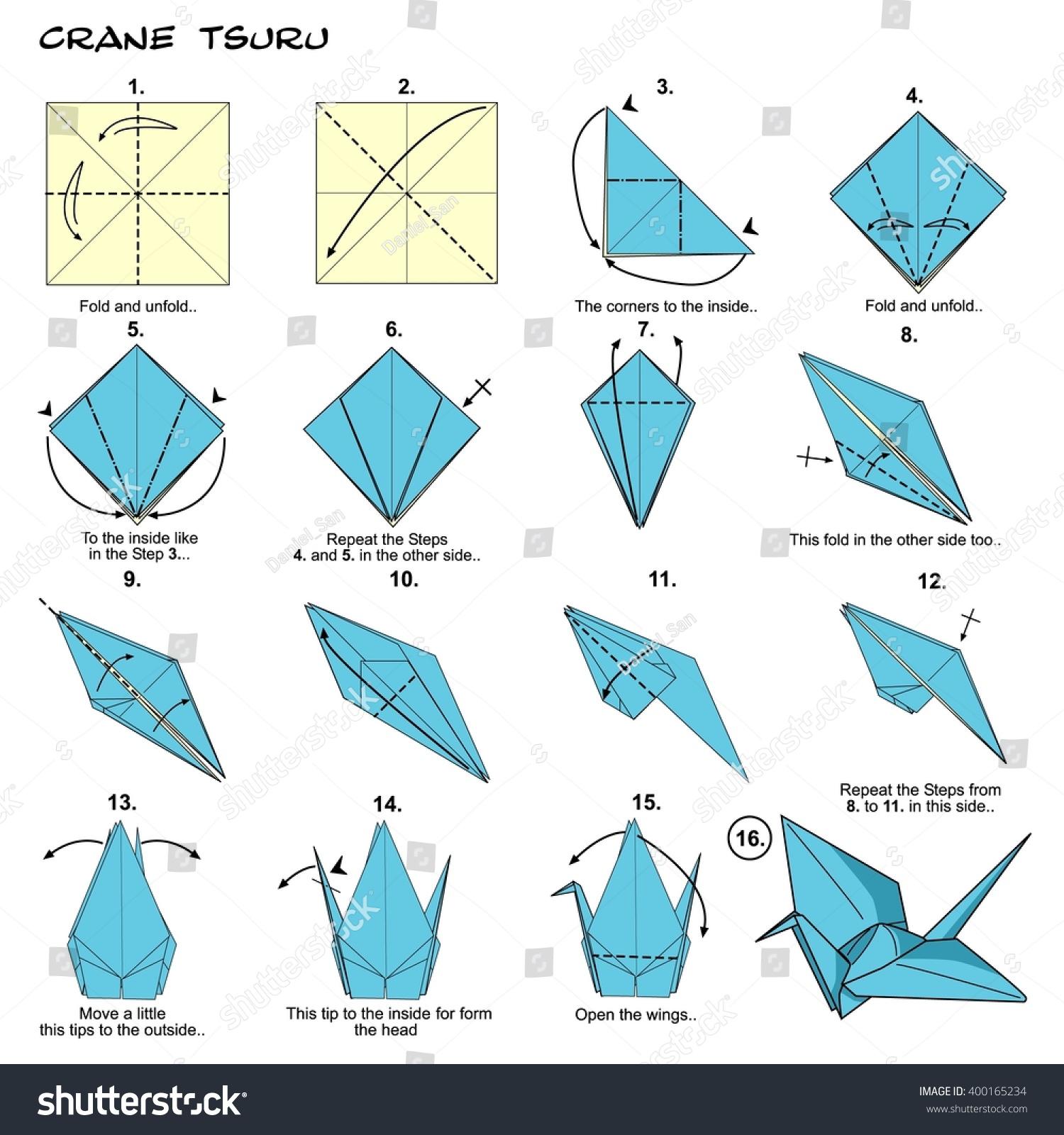Origami Traditional Japan Crane Tsuru Diagram Stock Illustration