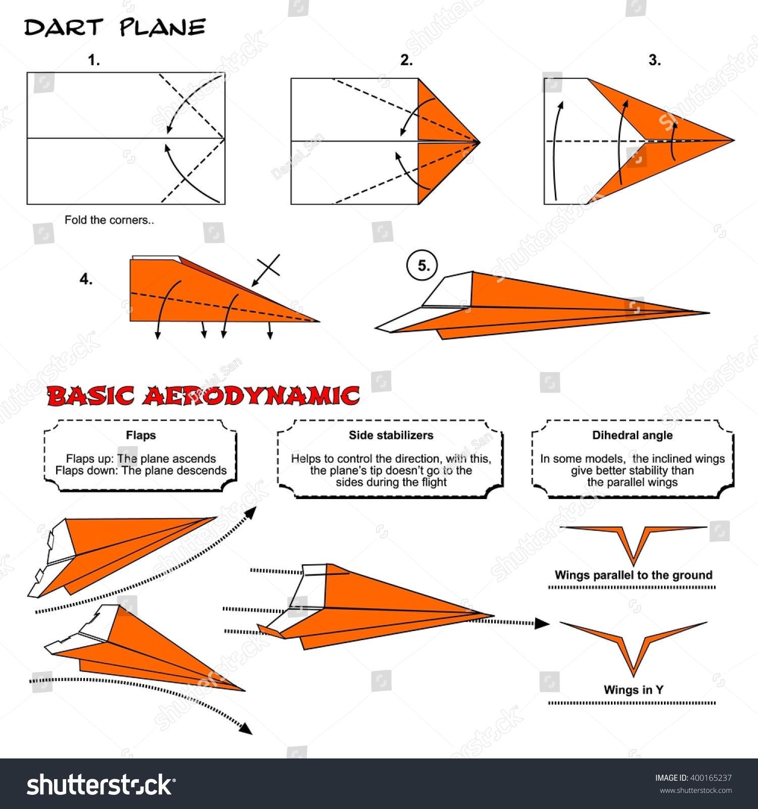 Origami Traditional Dart Plane Diagram Instructions Stock Steps