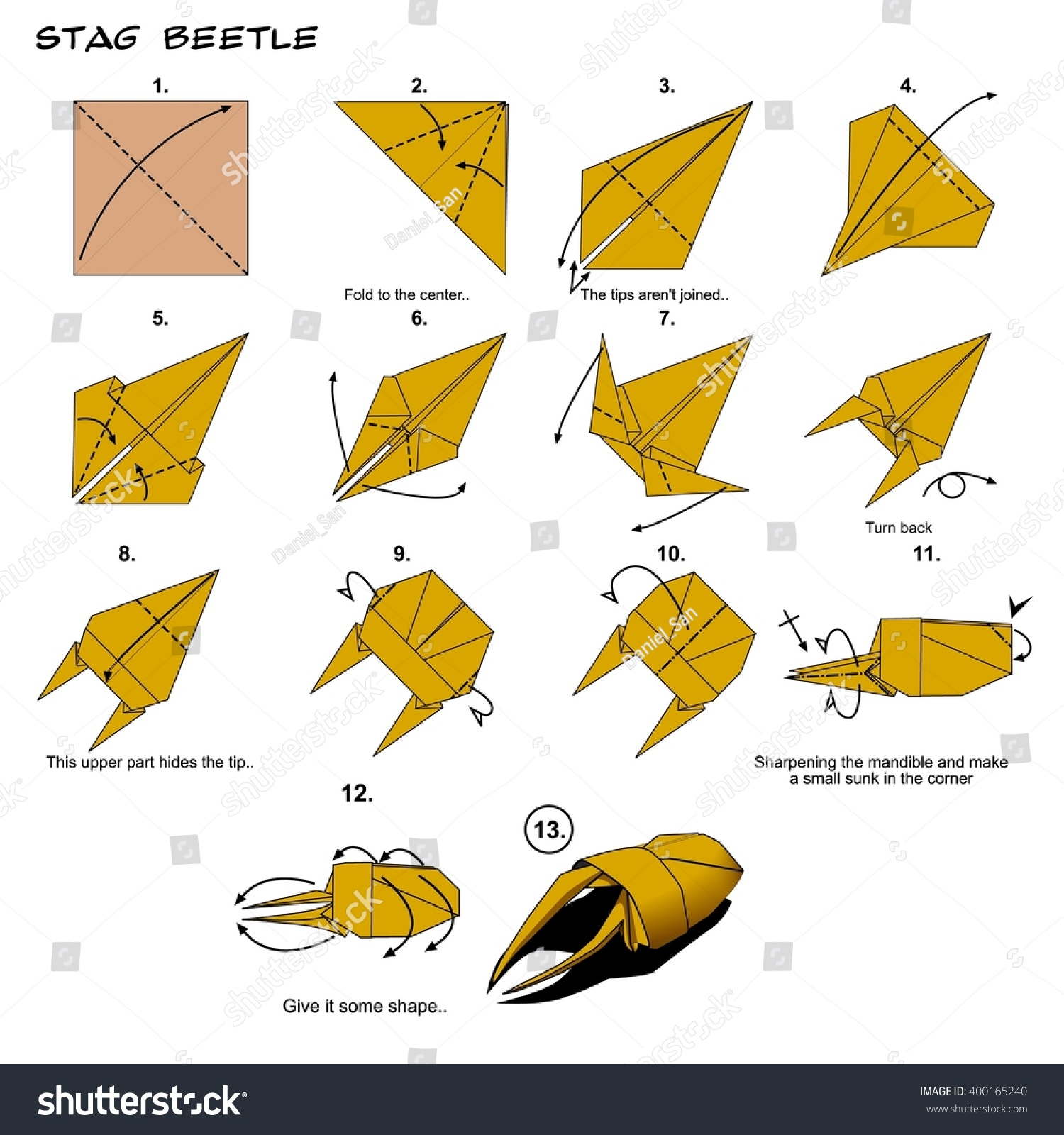 Origami Animal Insect Stag Beetle Art Stock Illustration 400165240 Instructions Diagram Steps