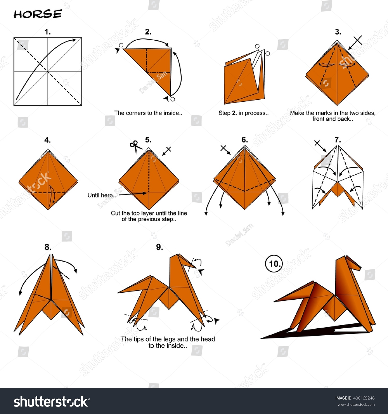 Origami Animal Traditional Horse Diagram Instructions Stock - Origamis-animales
