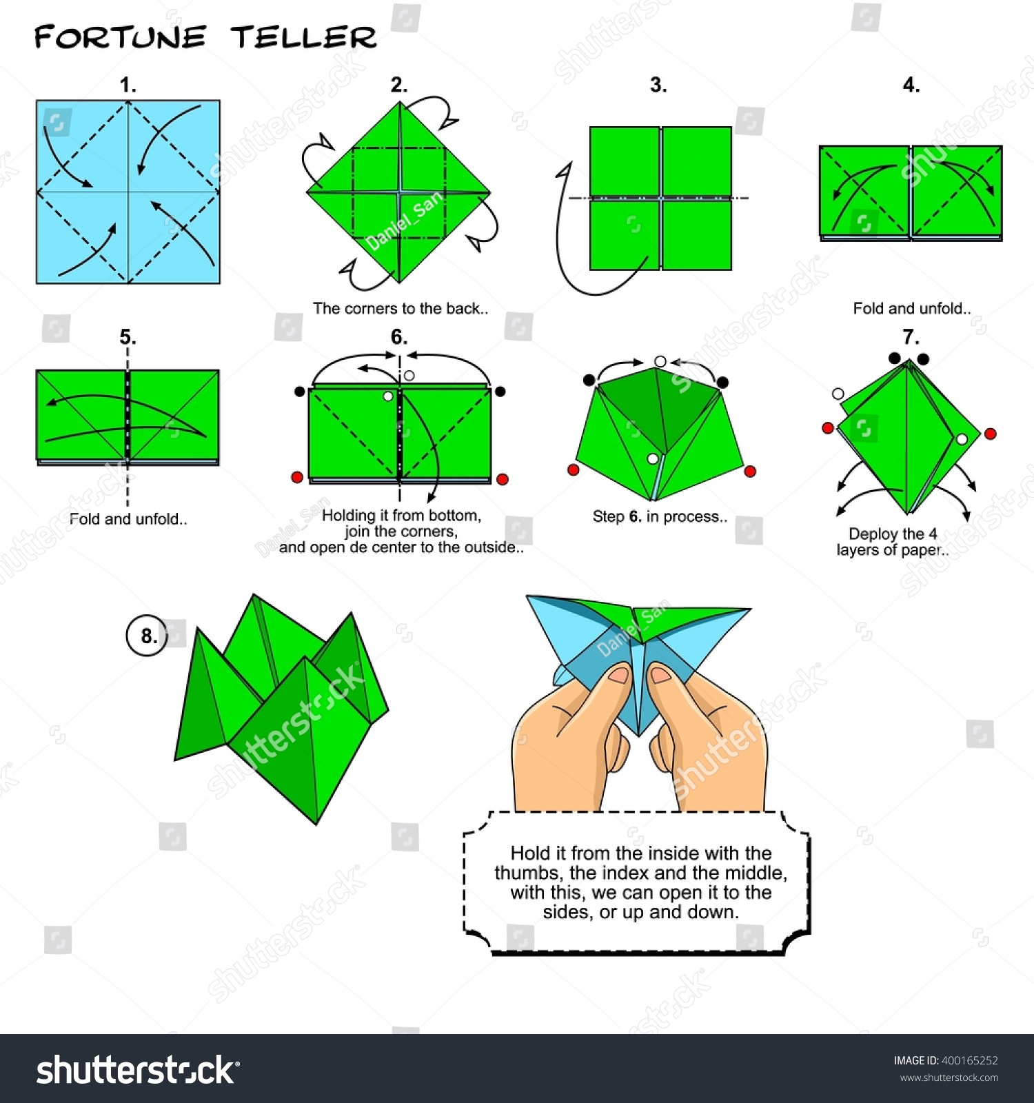 Origami Fortune Teller Instructions Steps Stock ... - photo#14