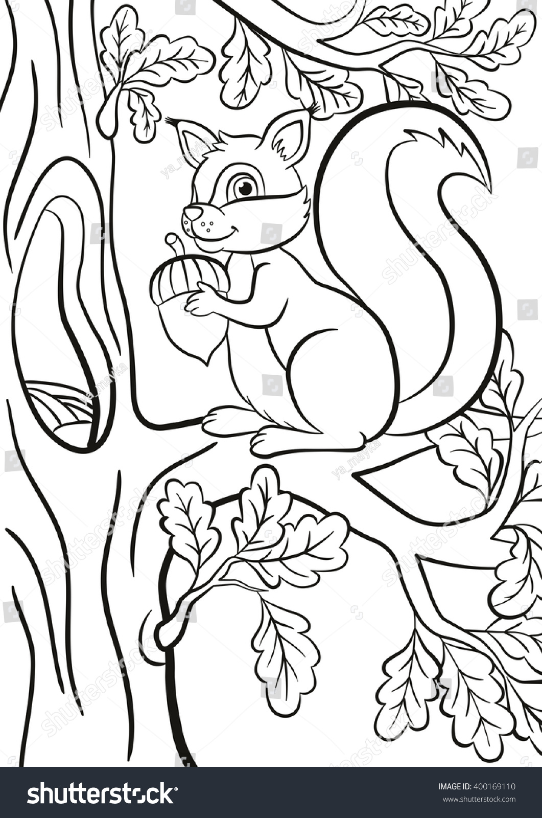 coloring page little cute squirrel sits stock vector 400169110