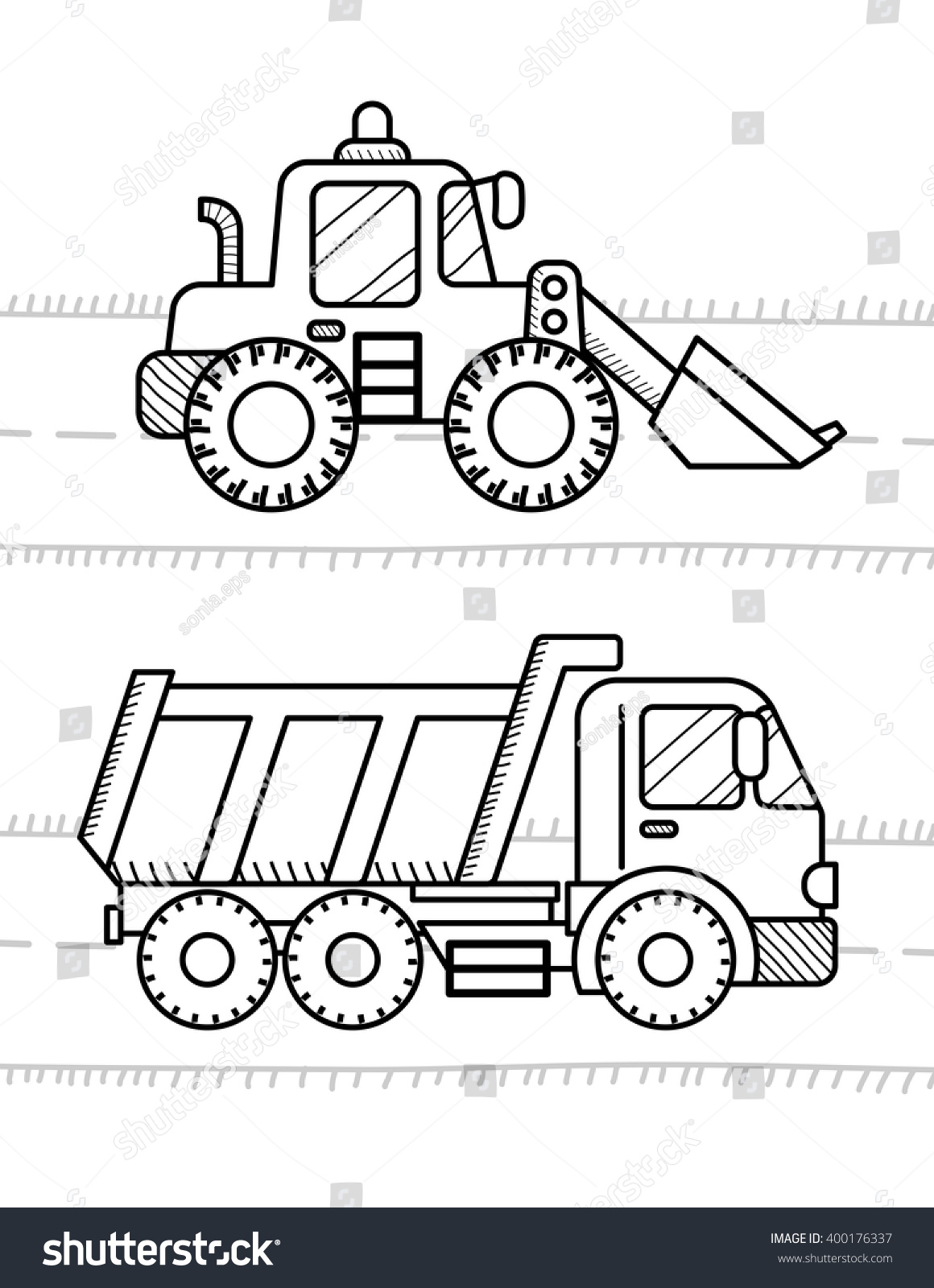 Coloring pictures of cars truck tractors - Cars And Vehicles Coloring Book For Kids Dump Truck Excavator Dozer Digger Tractor