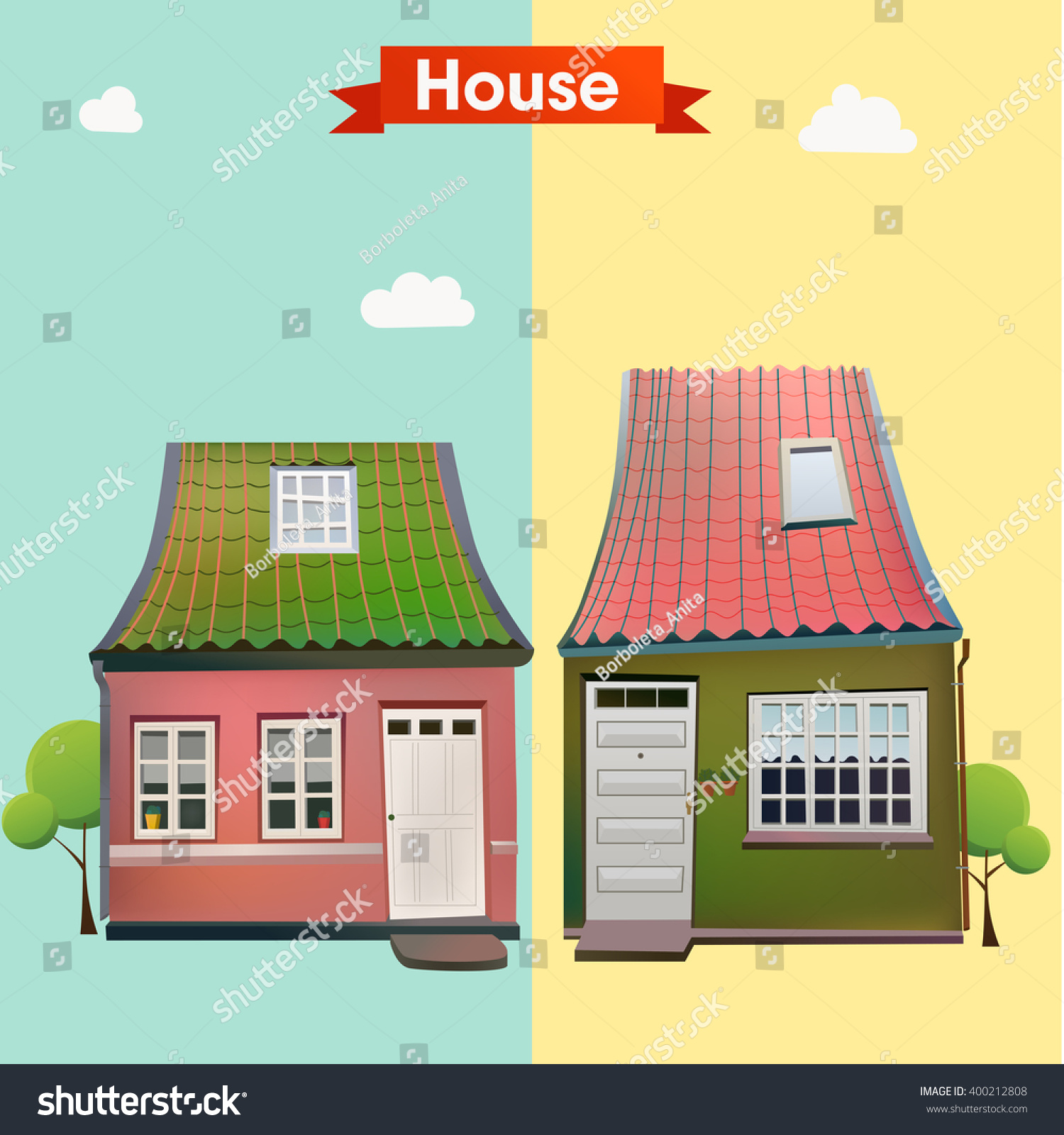 Renew.Housebeautiful.Com different variants house beautiful european houses stock vector