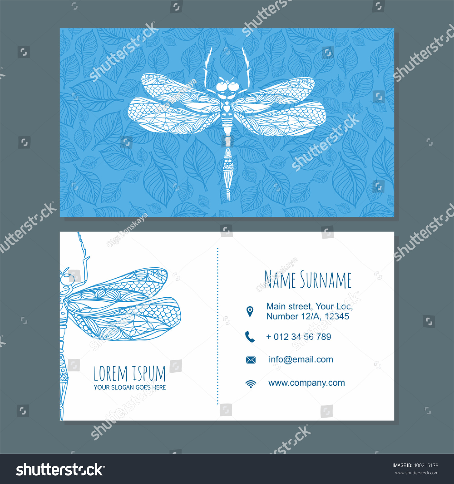 Business Card Visiting Card Template Dragonfly Stock Vector (2018 ...