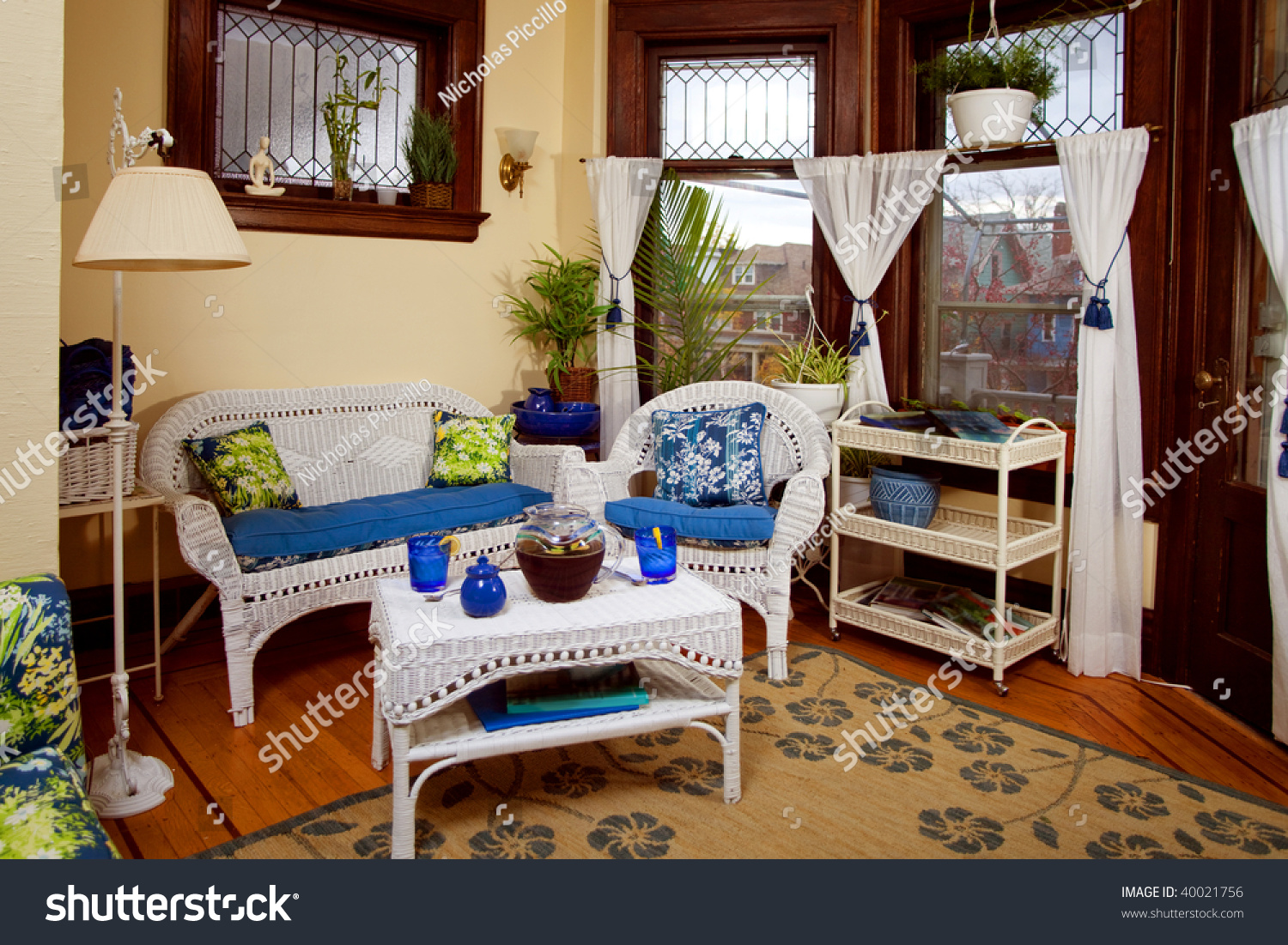 Sitting Room Or Sunroom With Wicker Furniture
