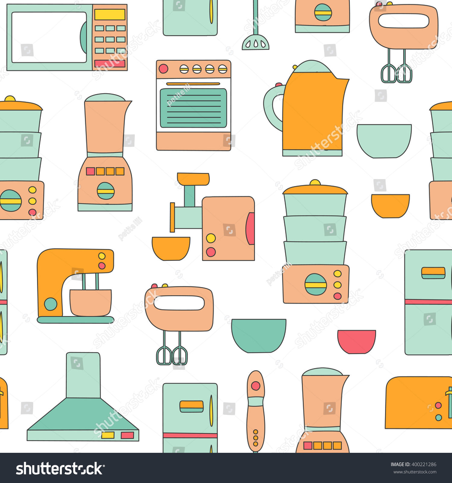 Vector line kitchen appliances background simple for Kitchen design vector