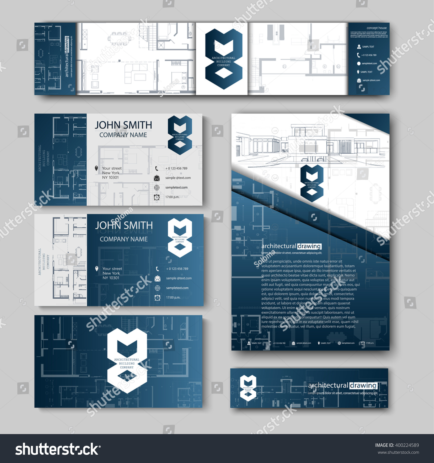 Business Cards Design Cityscape Sketch Architectural Stock