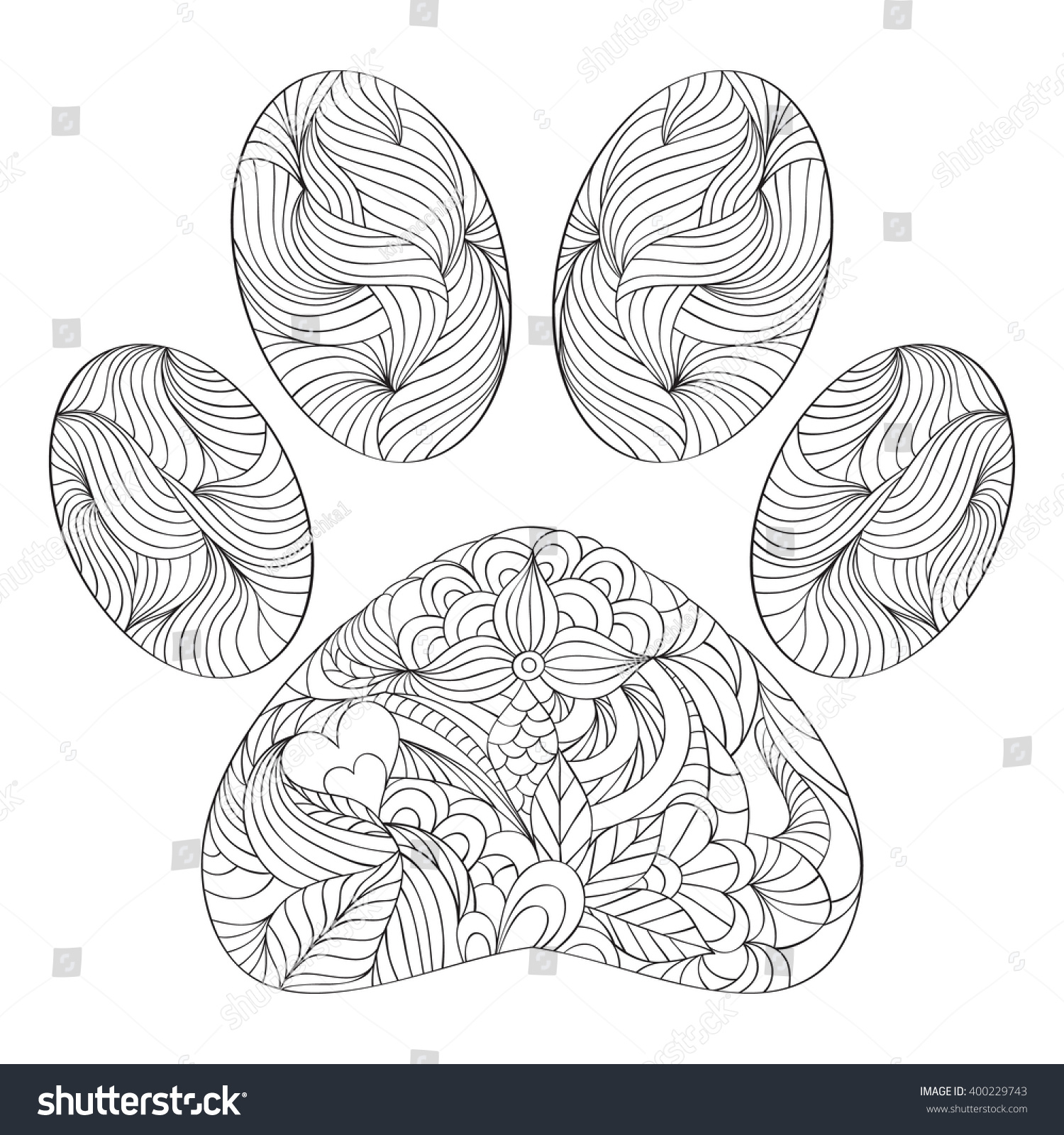 Uncategorized Paw Print Coloring Page vector illustration abstract animal paw print stock of on white background coloring page for adult