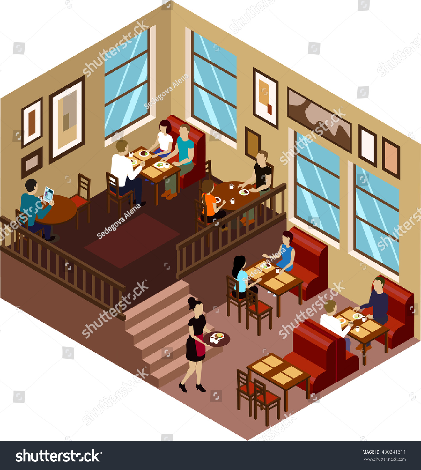 coffee house cafe isometric interior customers stock vector