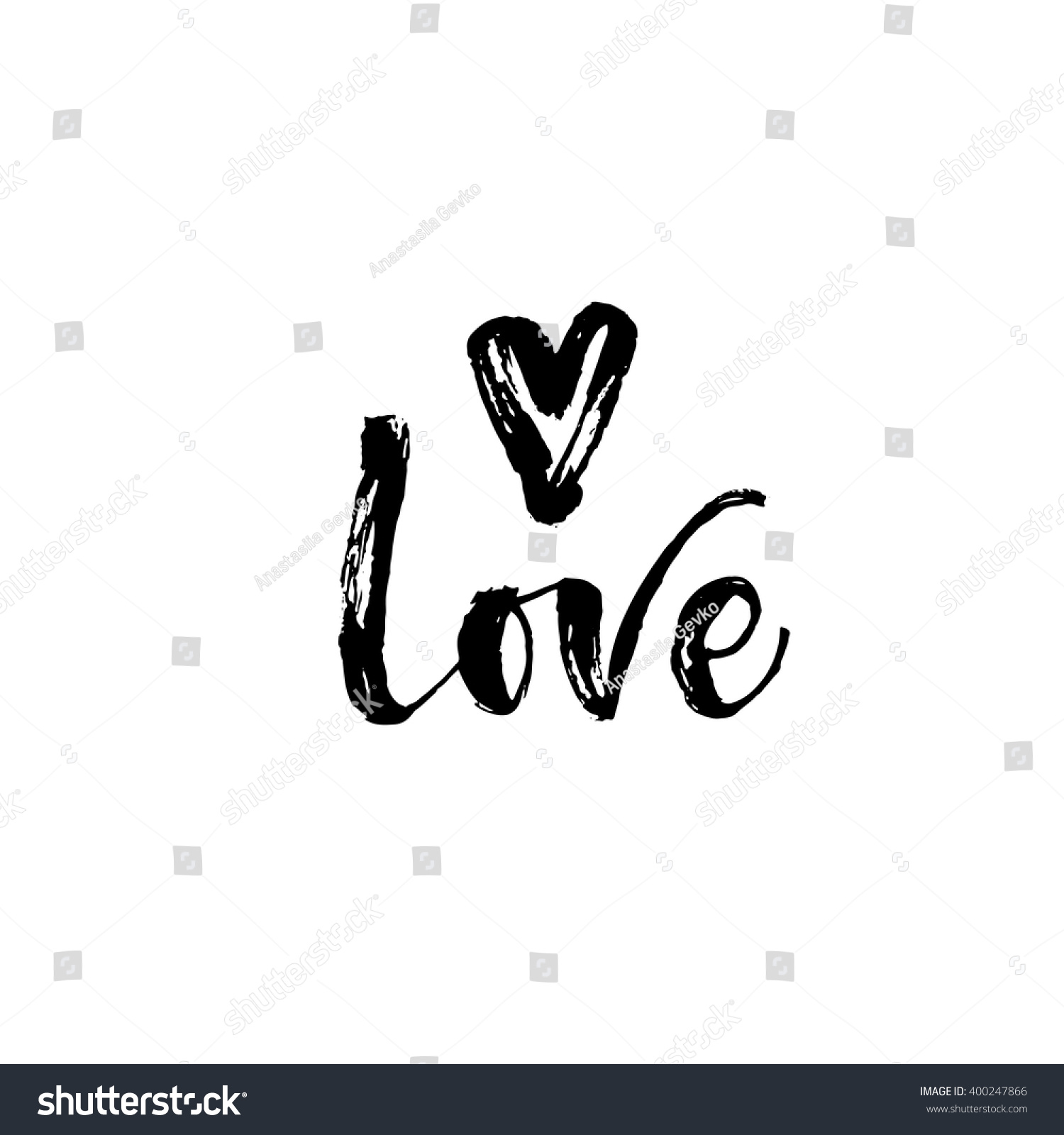 Love Card Hand Drawn Lettering Card Stock Vector 400247866