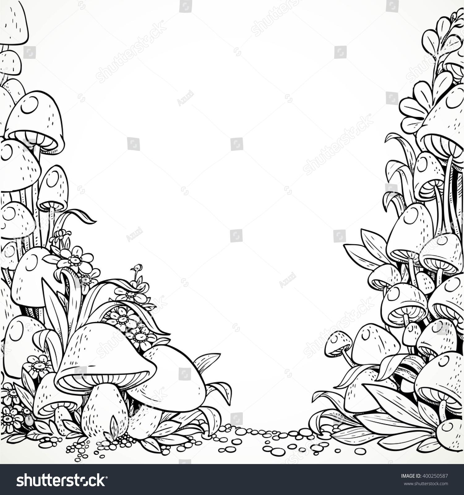 Fairytale Decorative Graphics Mushrooms Flowers Magic Stock Vector