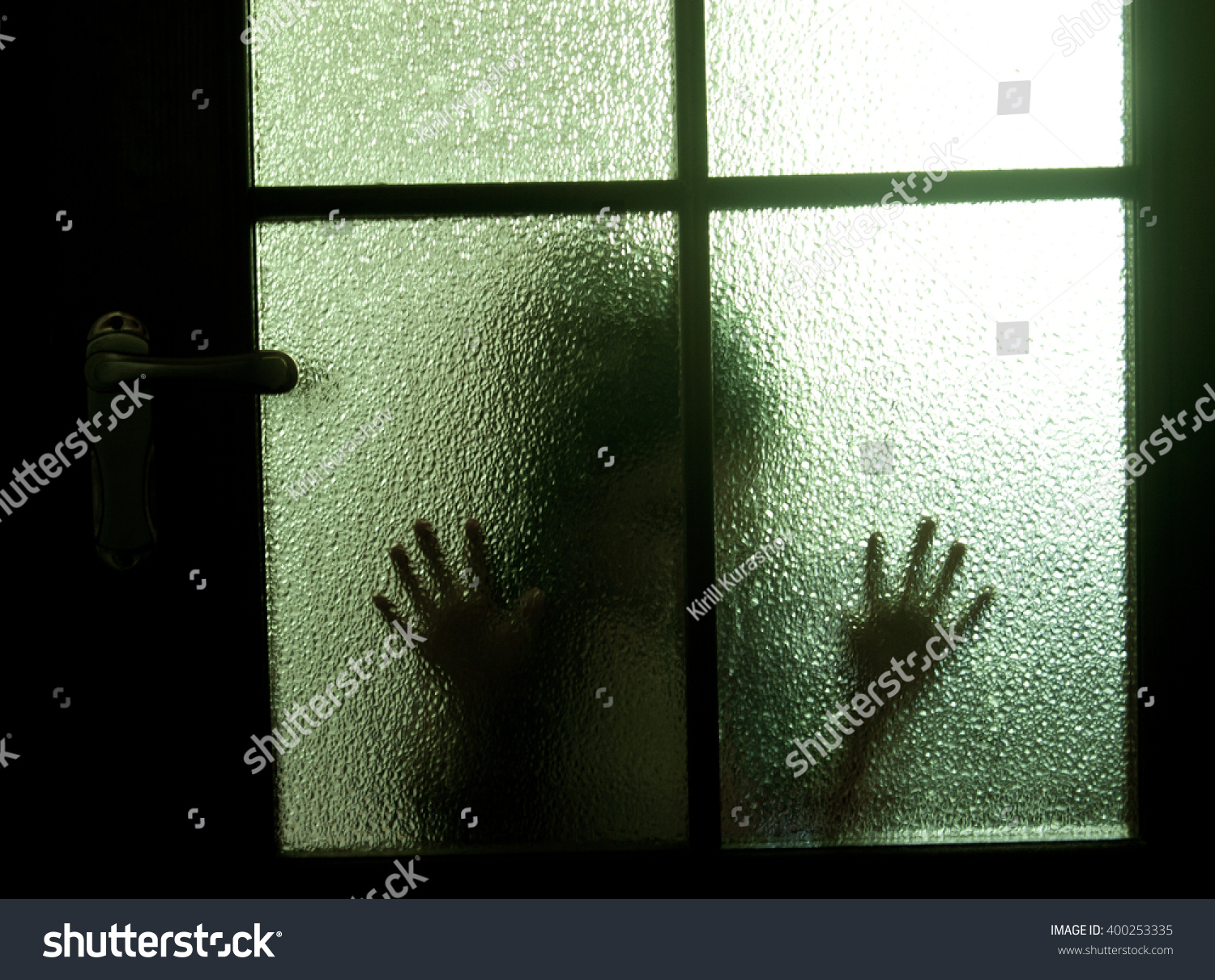 Blurred Silhouette Child Behind Glass Door Stock Photo Edit Now