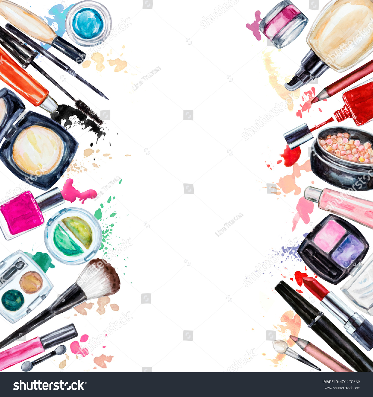 Beauty In Frame: Frame Various Watercolor Decorative Cosmetic Makeup Stock