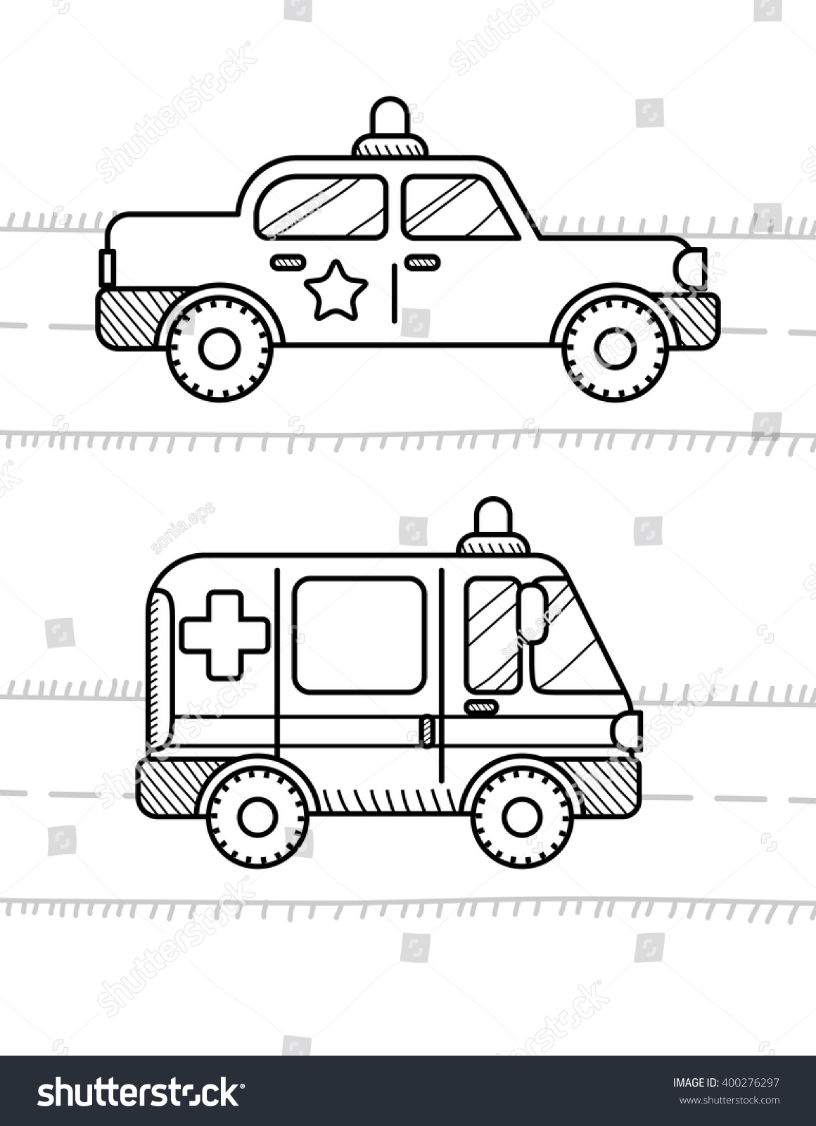 cars coloring book kids ambulance police stock vector 400276297